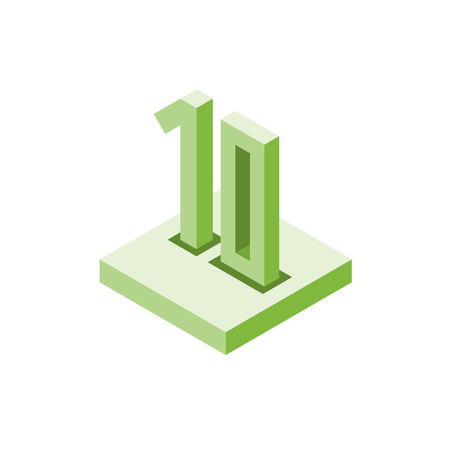 Isometric green ten icon on square, 3d character, vector eps10
