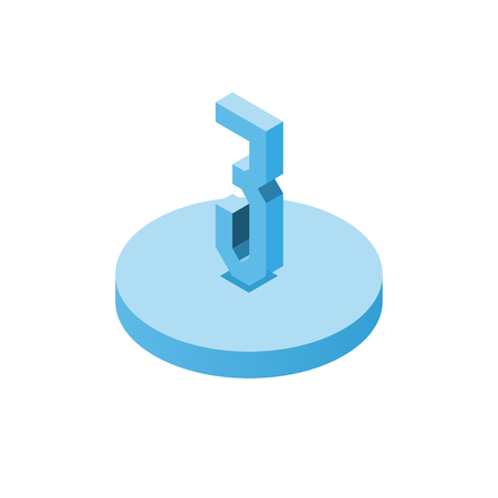 Isometric blue three icon on disk, 3d character, vector. Ilustrace