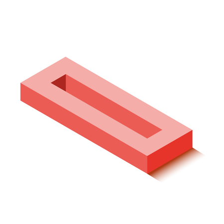Isometric zero red icon, 3d character with shadow, vector eps10