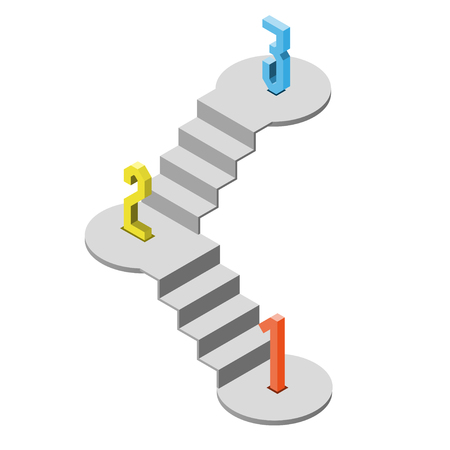 1 2 3 steps stair isometric view, infographic concept, vector eps 10