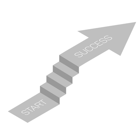 Stair with arrow isometric view, infographic concept, vector.
