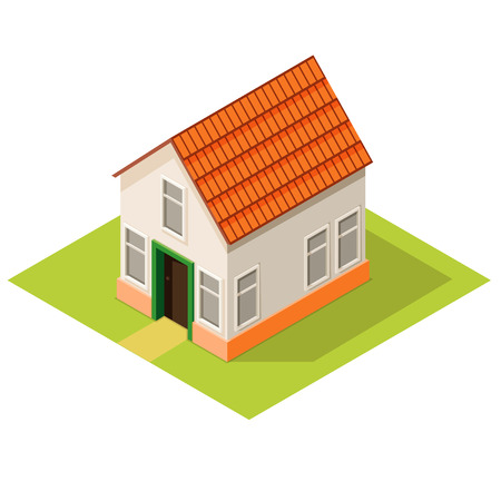 Small house isometric view, suburban estate, vector eps 10 Ilustrace