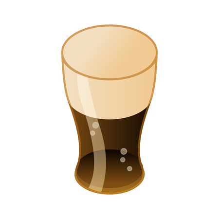 Dark beer in glass isometric icon, alcohol concept, vector eps 10 illustration