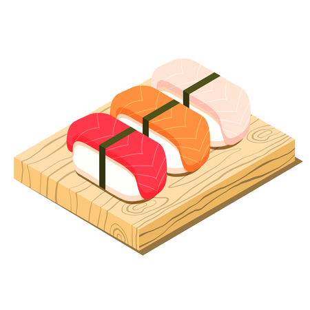 Set of sushi on cutting board isometric icon, cooking asian food concept, vector eps10 illustration