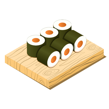 Rolls on cutting board isometric icon, cooking asian food concept, vector eps10 illustration  イラスト・ベクター素材