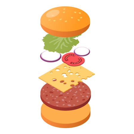 Explode burger ingredients isometric view, fastfood concept, vector eps10 illustration