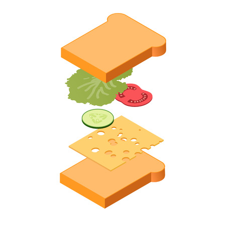 Explode sandwich ingredients isometric view, fastfood concept, vector eps10 illustration
