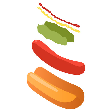 Explode hotdog ingredients isometric view, fastfood concept, vector eps10 illustration Illustration