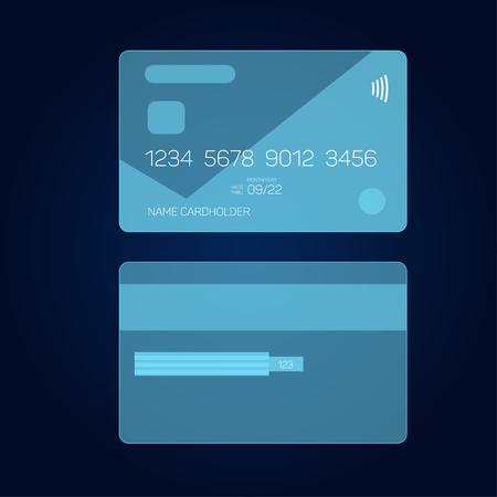 Credit card in head-up display style, HUD interface, vector eps 10