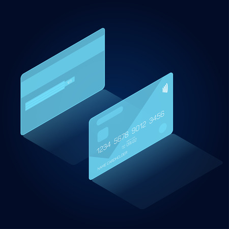 Credit card in head-up display style, HUD interface, vector eps 10, isometric view