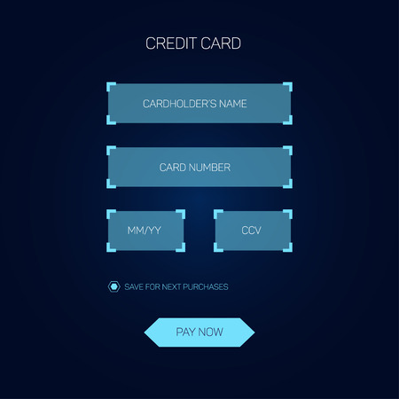 Credit card checkout web form in head-up display style, HUD interface, vector eps 10