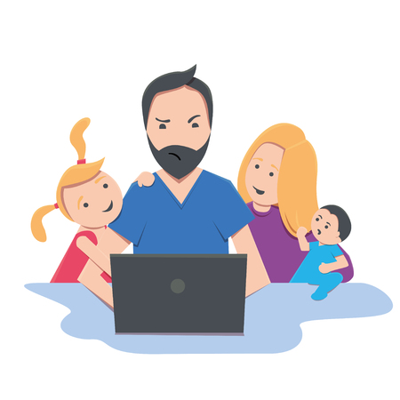 Freelancer dad works at home on notebook with children and mom, wor-life balance concept Ilustrace