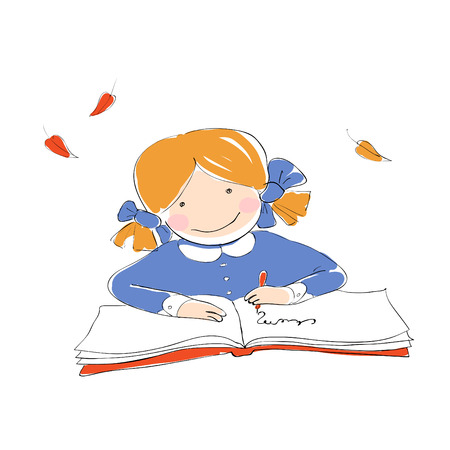 Schoolgirl with book. Vector