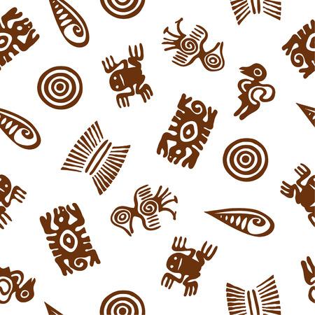 mayan culture: Stylized Aztec animal figures. Seamless pattern.