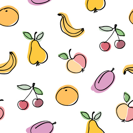 Hand-drawn fruits collection. Seamless vector background pattern. Vector