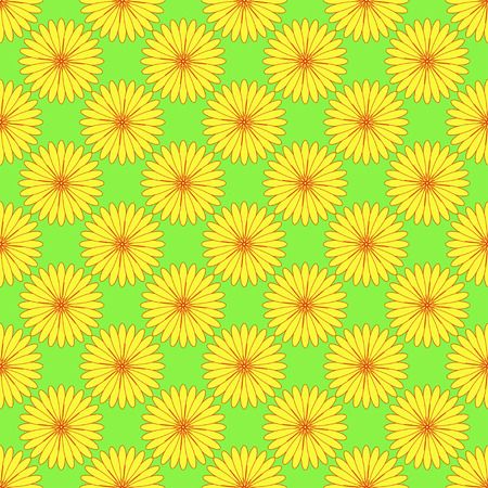 Floral seamless pattern on the neon green background Illustration
