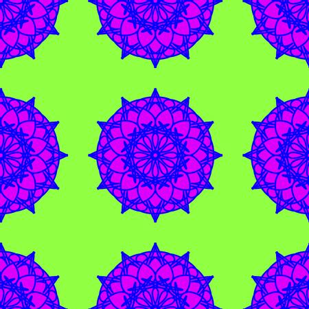 vecor: Oriental vecor seamless pattern on the neon green background