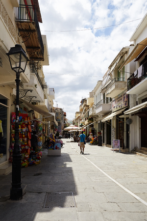Walking in the Old Town of Rethymno, the Crete Island, Greece
