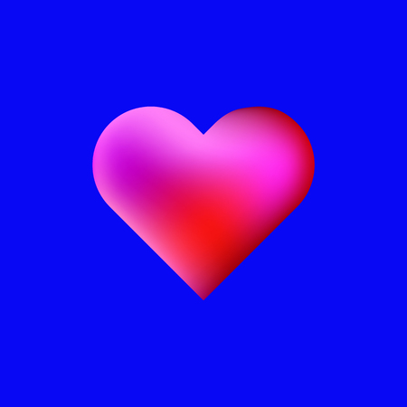 Red vector heart on the blue background