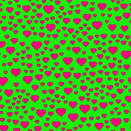 Pink heart seamless pattern on the green background