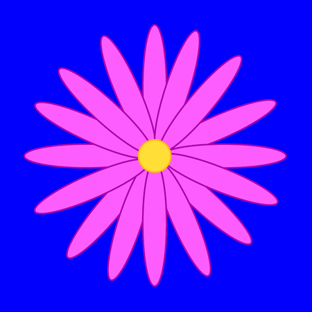 Pink flower on the blue background.