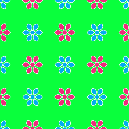 Seamless Pattern on the neon green background