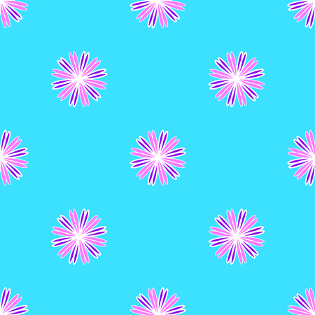 Floral Pattern on the cyan background Stock Illustratie
