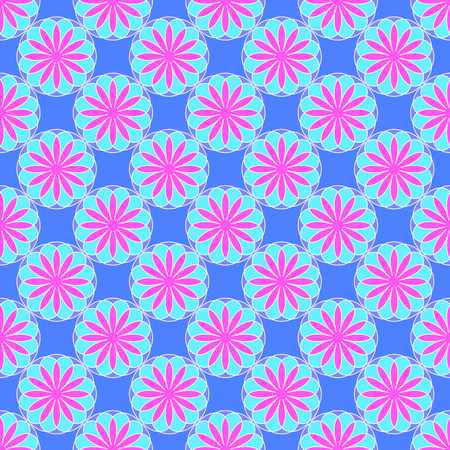 Abstract floral pattern on the blue background