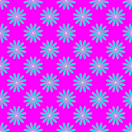 Abstract floral pattern on the neon pink background