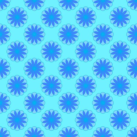 Floral seamless pattern on the cyan background Stock Illustratie