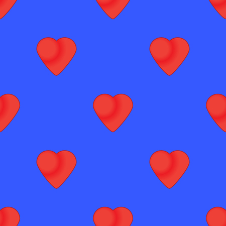 Heart seamless pattern on the blue background Stock Illustratie