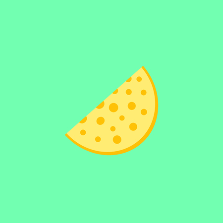 Cheese slice on the neon green background
