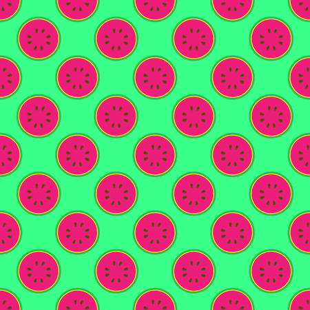 Watermelon seamless pattern on the neon green background Vettoriali