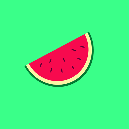 Watermelon slice on the neon green background