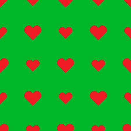 Red heart seamless pattern on the green background Illustration