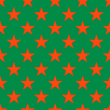 Red star seamless pattern on the green background