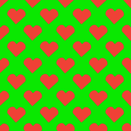 Red heart seamless pattern on the green background Stock Illustratie