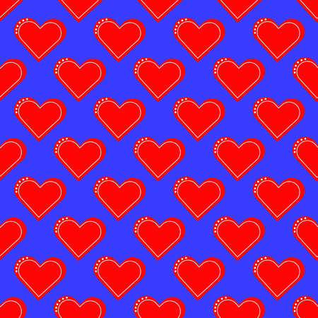 Red heart seamless pattern on the blue background