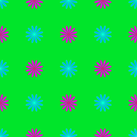 Floral seamless pattern on the neon green background Stock Illustratie