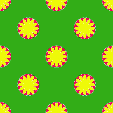Floral seamless pattern on the green background Stock Illustratie