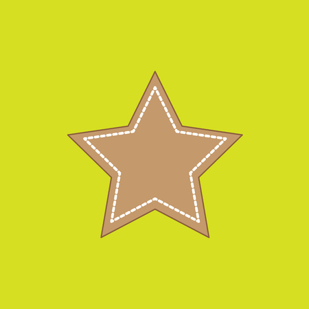 Star-shaped gingerbread on the neon green background