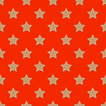 Star-shaped gingerbread seamless pattern on the red background  イラスト・ベクター素材