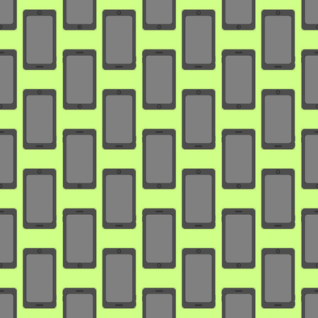 Smartphone seamless pattern at the neon green background