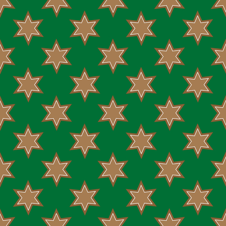Gingerbread seamless pattern on the green background