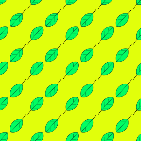 Green leaves seamless pattern on the yellow background Illustration