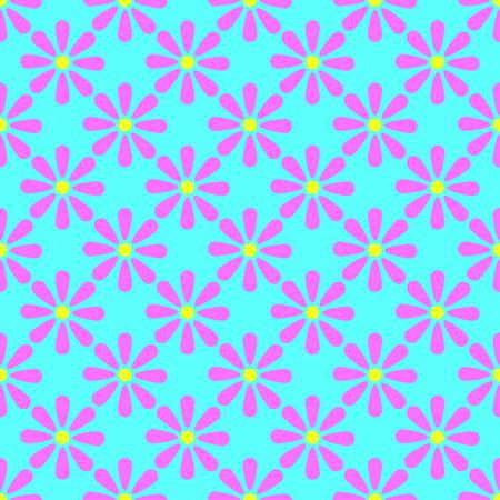 Floral seamless pattern on the cyan background Ilustração