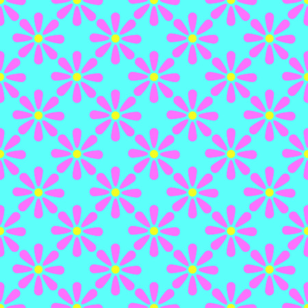 Floral seamless pattern on the cyan background Illustration