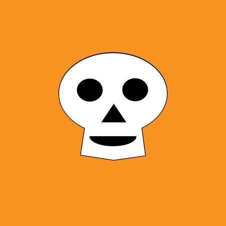 White skull on the orange background