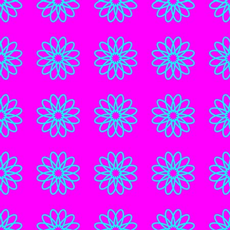 Abstract cyan floral pattern on the magenta background