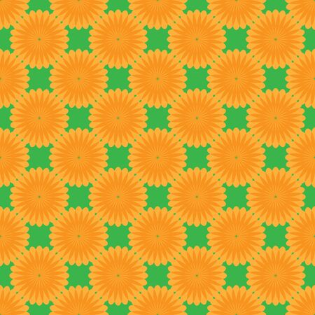 Abstract floral seamless pattern on the green background